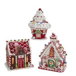Kurt Adler Battery-Operated Lighted Gingerbread Houses, 3 Assorted