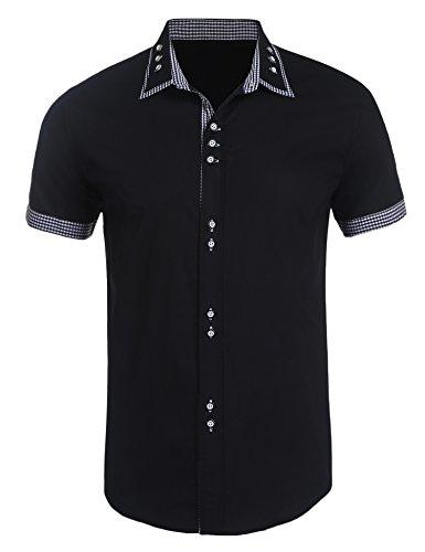 Plaid Short Sleeve Polo Shirt (Simbama Mens Casual Short Sleeves Plaid Contrast Dress Button Down Polo Shirt)