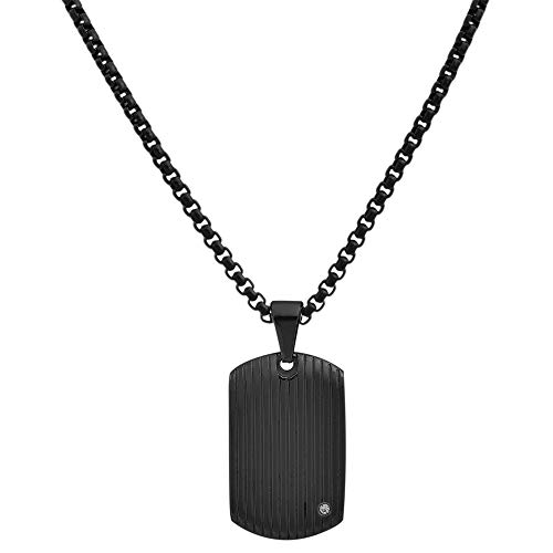 Geoffrey Beene Stainless Steel Men's Dog Tag Necklace with Cubic Zirconia Stone, Black