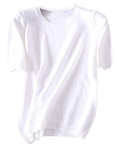 DAIMIDY Women's Short Sleeve Knitted Cashmere T Shirt Blouse Top, White, Tag 4XL = US 14