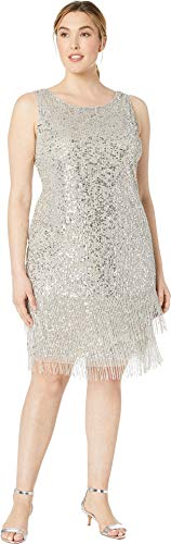(Adrianna Papell Women's Plus Size Sleeveless Fringe Beaded Cocktail Dress Silver 18 W)