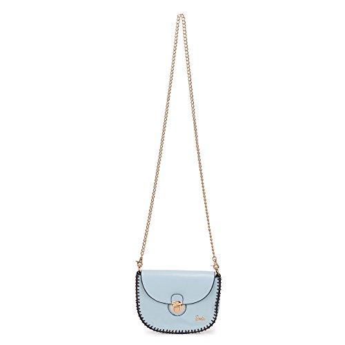 Barbie Bolso bandolera y baguette elegante de estilo chicas bolso casual con hebilla para mujer BBFB568 19x14.5x6CM Azul