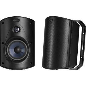 - Polk Audio Atrium 6 Outdoor Speakers with Bass Reflex Enclosure (Pair, Black) - All-Weather Durability | Broad Sound Coverage | Speed-Lock Mounting System