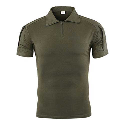 Men's Camouflage Zipper Polo Top, Mmnote Moisture Wicking Performance Breathable Military Slim Fit Polo Shirt