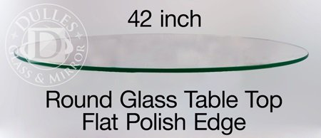 TroySys Tempered Glass Table Top, 3/8 Thick, Flat Polish Edge, Round, 42