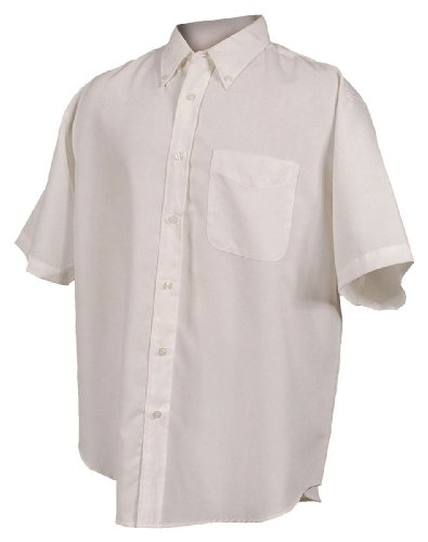 Tri-mountain Mens rayon/poly short sleeve shirt with mini-houndstooth pattern. - IVORY - 5XLT