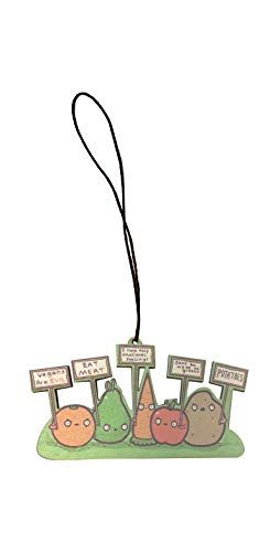 - Randy Otter Protesting Vegans Funny Vegetables w/Protest Signs Against Vegans Engraved Printed Wooden Rear View Mirror Car Charm Dangler