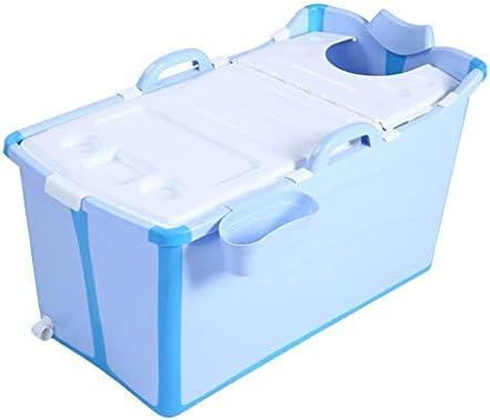 大人折りたたみバスタブ、ポータブルバスタブ、家庭用バスタブプラスチックスパバスタブノンスリップ絶縁バスタブ (Color : Blue)