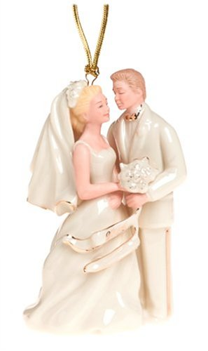 Lenox Personalized Ornaments - Lenox 2004 Caucasian Bride and Groom Porcelain Ornament