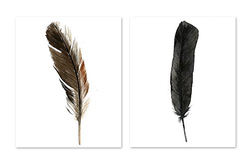 Feather Wall Art Decor #A139 - Set of 2 art prints (8x10 ) Black Watercolor Poster Boho Artwork Tribal Home Decor Office Bedroom