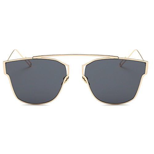 Barsty Fashion Retro Metal Frame Flash Mirror Lens Sunglasses UV Protection UV400 - Flash Clubmaster Lenses Oversized