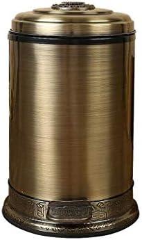 滑らかな表面 レトロなスタイルステンレスミュートごみ箱ヴィラリビングルームティールームのゴミ箱屋外ごみ箱をペダルごみ箱 リサイクル可能なデザイン (Color : A, Size : 6L)