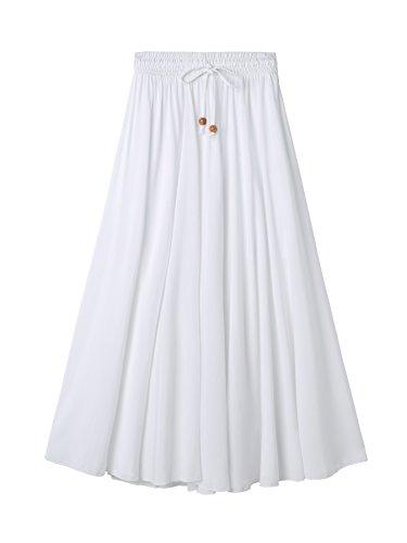 DEBAIJIA Femme Jupe Maxi Coton Simple Elgante Classique Vintage Elastique Taille pour Et Plage Dcontract Maison Plisse Jupe Coton&rayonne-fs01-blanc