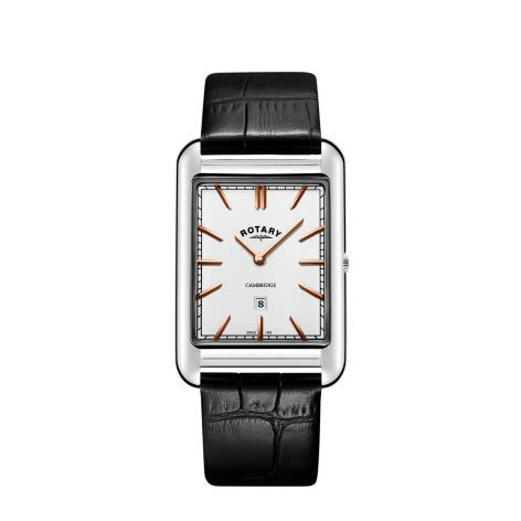 Rotary Mens Cambridge Date Square Black Leather Strap GS05280/02