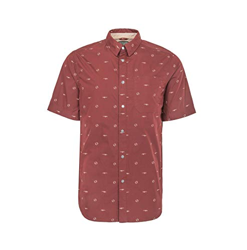 LA Police Gear Target Practice Poly/Cotton CCW Short Sleeve Button Up Shirt - Maroon - XLarge