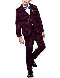 Fengchengjize Boys 3 Pcs Tuxedo Suits Fit Suit Stripe Wedding Banquet Clothing