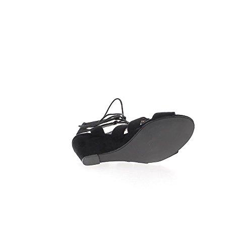 Sandali con zeppa nero con tacco di 7cm guardare cinghie e lacci in camoscio