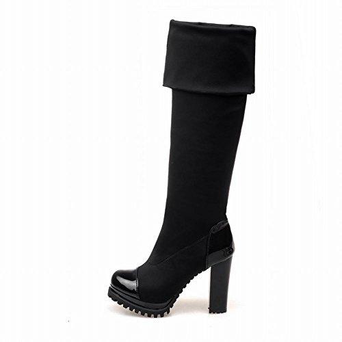 Latasa Damesmode Zwart Platform Hoge Blokhak Pull-over Op De Knie Laarzen Zwart