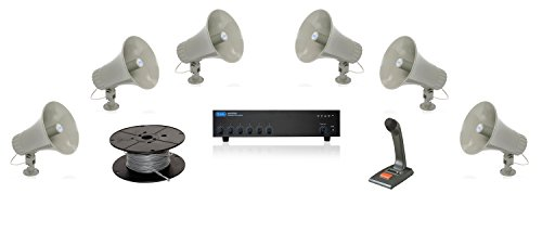 Atlas Sound GA-30T 30 Watt Utility Re-Entrant Paging Horn Bundle with Atlas Sound AA200PHD 200 Watt Mixer Amplifier and TOA PM-660U Paging Microphone - Warehouse Paging Sound System (6 Speakers)