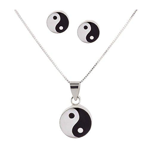 SL de Silver Set Cadena Colgante Pendientes de Ying Yang nacarado. 925plata de ley en caja de regalo