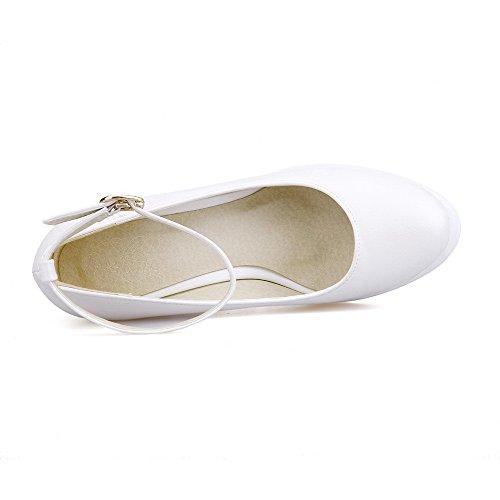 Solidi Pu Talloni calzature Chiusa Rotonda Amoonyfashion Fibbia Donne Bianco Delle Pompe Punta AwFq77