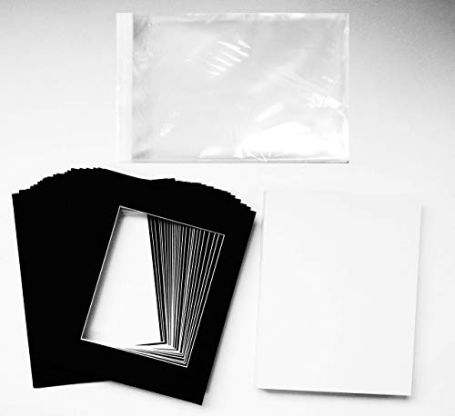 Studio 500 Pack of 25 Black Pre-Cut 11x14 Picture Mats for 8x10 Photos with White Core Bevel Cut Mattes Sets 4ply. Includes 25 Top of the Line Acid-Free Mats, 25 Backing Board, 25 Clear Bags