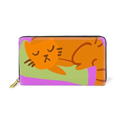 (Women Zipper Wallet Cartoon Sleeping Awesome Cat Mascot Clutch Purse Phone Credit Card Holder)