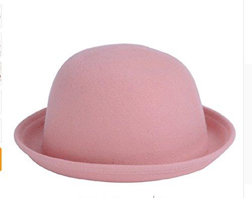 PAAT SHOPFashion Colorful Women's solid Felt Woolen Fedora Hat Lady Round Cap#Pink (Burgundy Felt Bonnet)