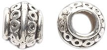Shipwreck Beads Zinc Alloy Spacer Bead Barrel with 4mm Hole, 7 by 8mm, Silver, 75-Pack