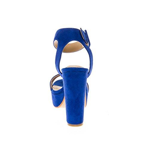 Chunky su Dress Blue Shoes Platform Buckle High Women's Sandals Royal Toe Strap Heel Open CALICO KIKI Ankle q1aA7x8p