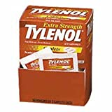 Office Products : Tylenol Extra Strength Acetaminophen Individually Wrapped Medication, 50 Doses of Two Tablets, 500mg