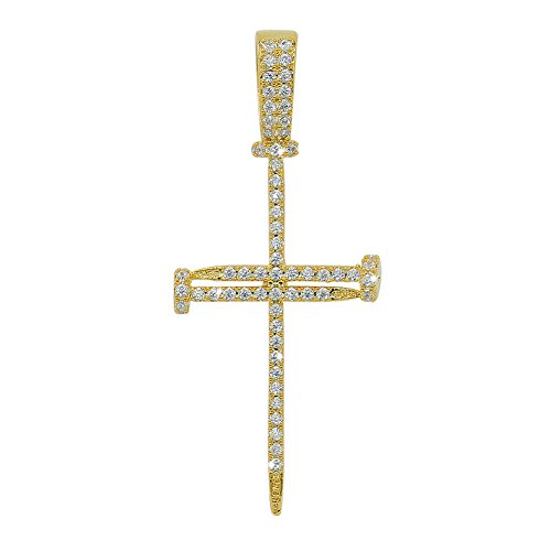 JINAO 18K Gold Plated Macro Pave Iced Out Diamon Charm Nail Cross Pendant]()