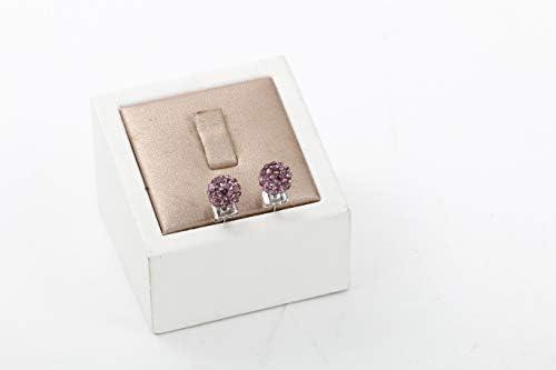 JULIANI 18k-Gold-Plated Hypoallergenic Stud Earrings Ball Fashion 8mm Purple 1 CTTW Austrian Crystal Diamond Girls Teens Nickel /& Lead Free Jewelry for Women Kids