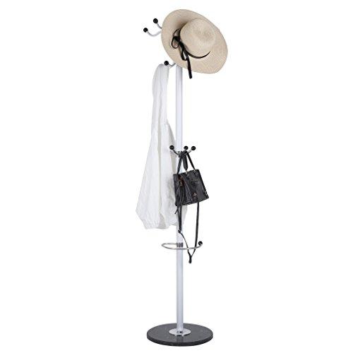 Homgrace Metal Coat Rack Hat Stand Tree Hanger Hall Umbrella Holder Hooks Round Base for Jacket Umbrella Tree Stand (WHITE)