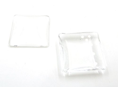hop Square dome Glass Cabochons - 1 inch - 25mm - Clear square dome Cabs - 1 (35 Mm Flat Square)
