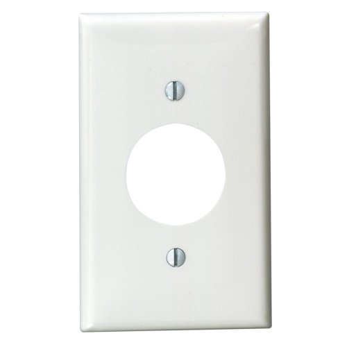 Leviton 80704-W 1-Gang Single 1.406-Inch Hole Device Receptacle Wallplate, - Wide Electric Single