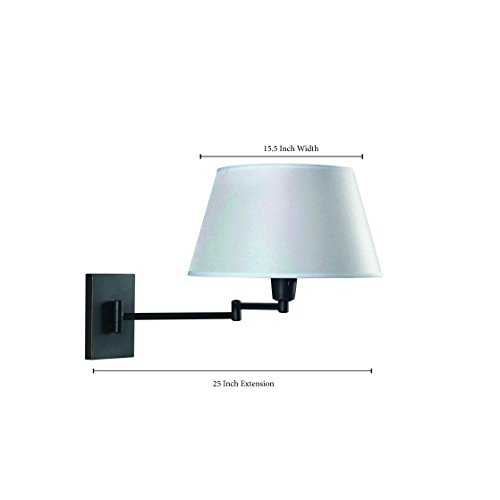 Kenroy Home Swing Arm Wall Lamp – Wall Mounted Plug In, Cord Covers Included, Oil Rubbed Bronze Finish with 13 inch Cream Fabric Shade, 25 inch reach by Kenroy Home (Image #4)