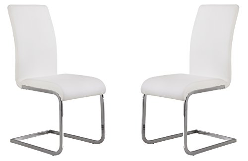 Armen Living LCAMSIWH Amanda Dining Chair Set of 2 in White and Chrome Finish