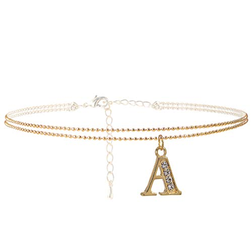 SpinningDaisy Double Line Rhinestone Crystal Initial Anklet -Perfect for Summer -