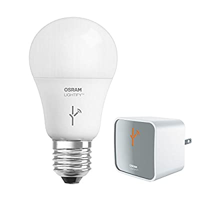 SYLVANIA OSRAM 73830 Lightify Smart Connected Lighting LED Starter Kit 9.5W (60W Equivalent) 2,700K A19 Dimmable Soft White LED Bulb