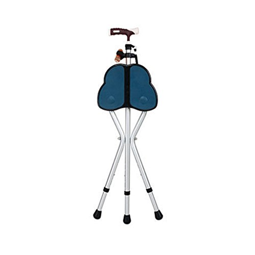 (TYSJCSY Folding Crutch Chair Walking Legs Cane Stool Seats Old Man's Crutch Four Footstool Multifunctional Crutch Stool Lightweight Folding Stool 2783-93cm (Color : Blue))