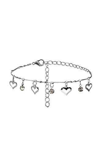Anklet Feet Charm Bracelet String Rhinestones Heart Pendant Silver Women Jewelry Silver