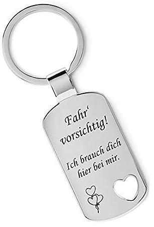 Texilband Rückseite Gravur Schlüsselanhänger Metall mit ausgestanztem Herz