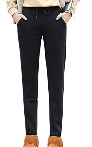 Us Warm Up Pant (Frieed Women's Warm Fleece Lined Drawstring High Waisted Jogger Pants Black M)