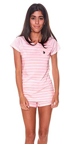 U.S. Polo Assn. Womens Short Sleeve Shirt and Pajama Shorts Lounge Sleep Set Light Pink ()