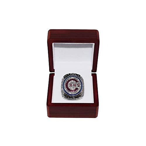 CHICAGO CUBS (Kris Bryant) 2016 WORLD SERIES CHAMPIONS (Ending the Curse of the Billy Goat) Rare & Collectible High-Quality Replica Baseball Silver Championship Ring with Cherrywood Display Box