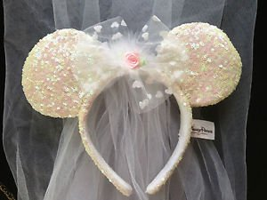 Disney Mickey Minnie Mouse Wedding Bride Ears Headband with Veil ... 54befd2902a