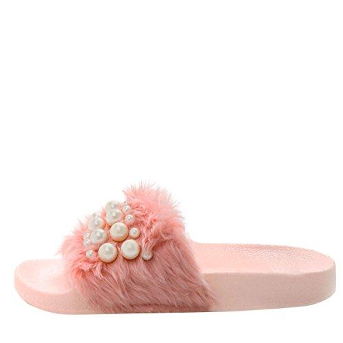 Wild Diva Womens Open Toe Pearl Embellished Slide Flat Sandal Flip Flop Slippers Pink rdRmf