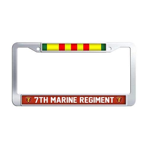 (Framespolish 7th Marine Regiment Vietnam Veteran License Plate Frame,Stainless Steel License Cover Holder)