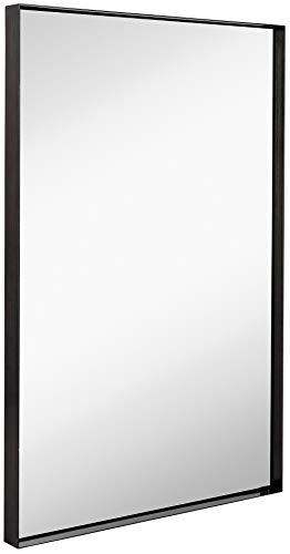 Hamilton Hills Contemporary Brushed Metal Wall Mirror | Glass Panel Black Framed Squared Corner Deep Set Design | Mirrored Rectangle Hangs Horizontal or Vertical (24